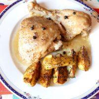 pollo de corral guisado