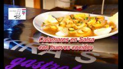 Calamares en salsa con huevos cocidos
