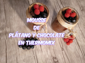 mousse de plátano y chocolate